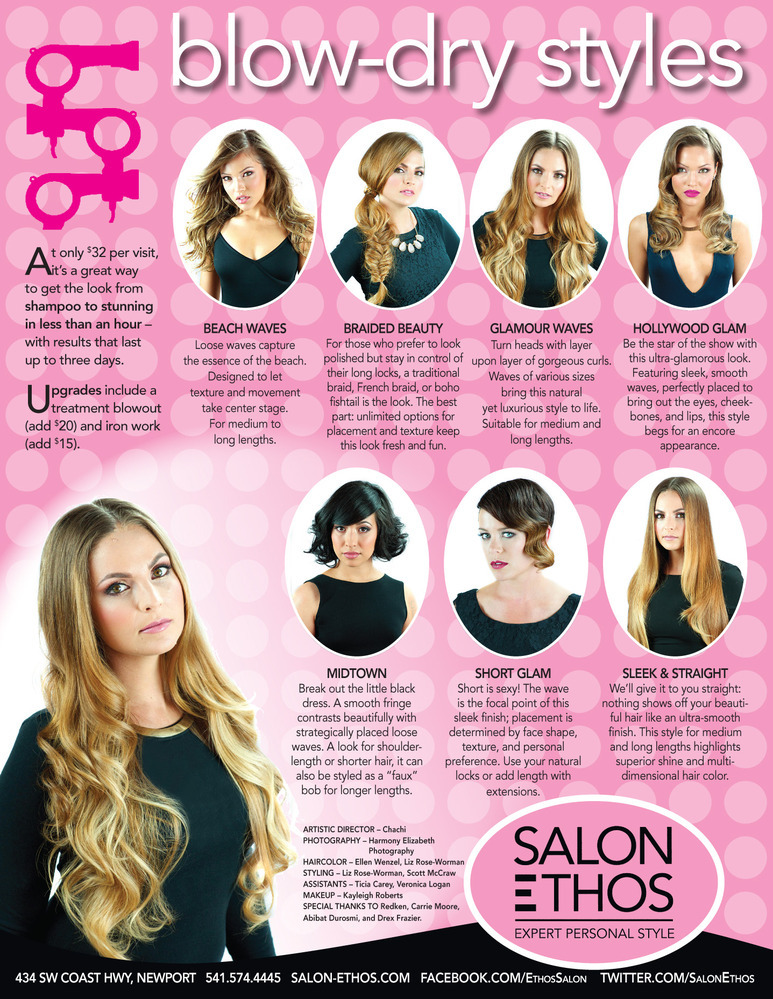 hair style menu bar salon ethos in newport or 7271 | 390051 blowdry style menu